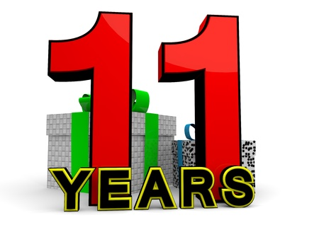 eleventh birthday: A large red number behind the word YEARS with presents