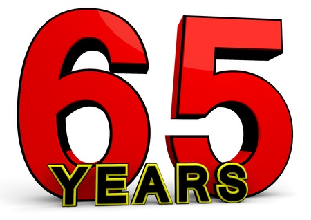 65 years old: A large red number behind the word YEARS