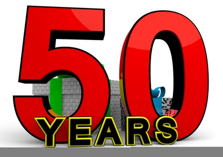 the fiftieth: A large red number behind the word YEARS with presents