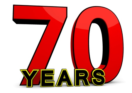 70 years: A large red number behind the word YEARS