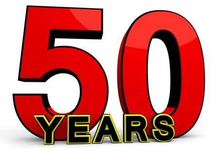 the fiftieth: A large red number behind the word YEARS