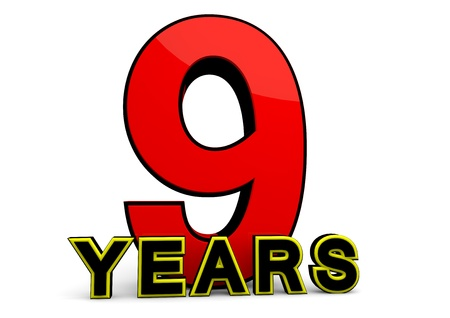ninth birthday: A large red number behind the word YEARS