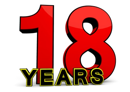 happy birthday 18: A large red number behind the word YEARS