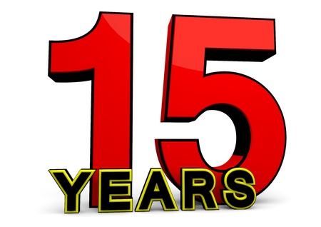 fifteen year old: A large red number behind the word YEARS
