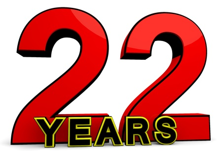 A large red number behind the word YEARS photo