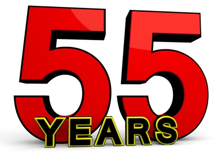 55 years old: A large red number behind the word YEARS