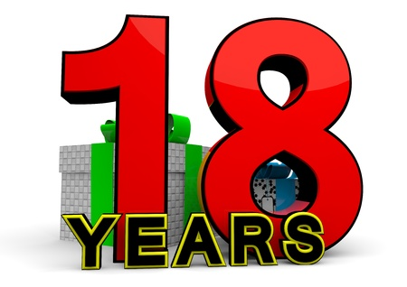 happy birthday 18: A large red number behind the word YEARS with presents