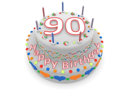 ninety: a white birthday cake with the age and happy birthday