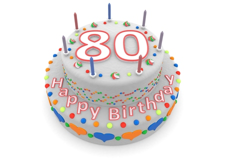 80 year old: a white birthday cake with the age and happy birthday