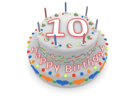 tenth: a white birthday cake with the age and happy birthday