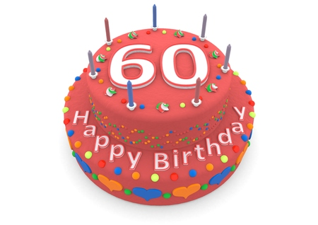 sixtieth: a red birthday cake with the age and happy birthday