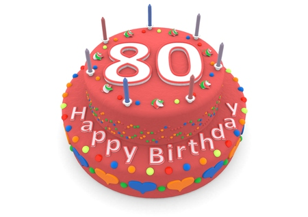 flan: a red birthday cake with the age and happy birthday
