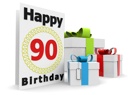 nineties: a birthday card with the age, happy birthday and presents