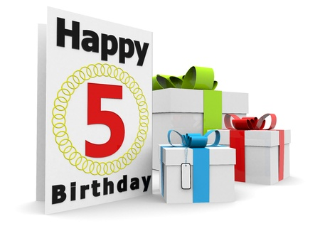 flan: a birthday card with the age, happy birthday and presents