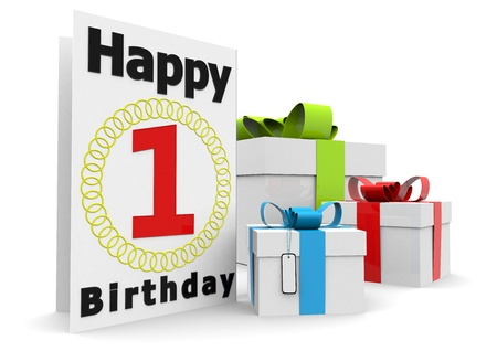 felicitate: a birthday card with the age, happy birthday and presents