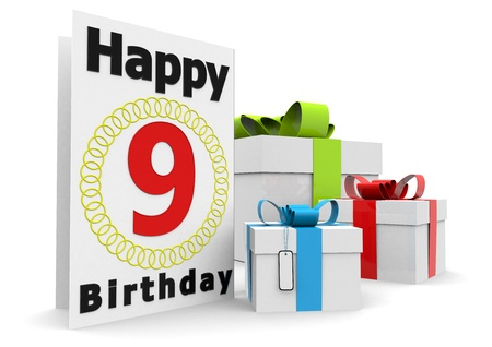 nine years old: a birthday card with the age, happy birthday and presents