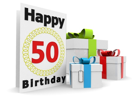 the fiftieth: a birthday card with the age, happy birthday and presents