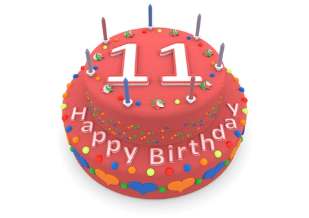 eleventh birthday: a red birthday cake with the age and happy birthday