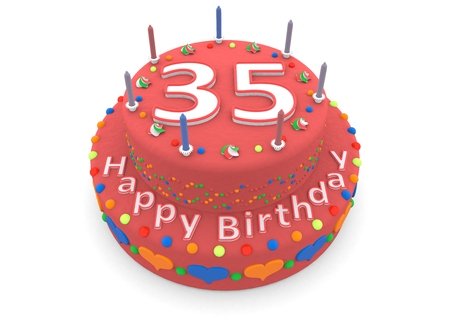 felicitate: a red birthday cake with the age and happy birthday