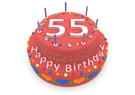 55 years old: a red birthday cake with the age and happy birthday
