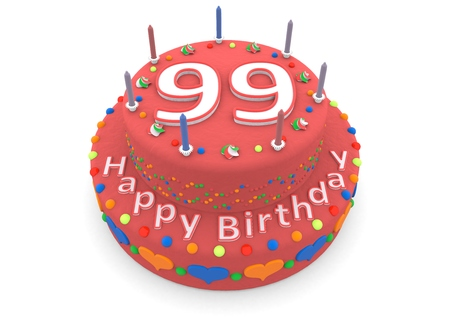 99: a red birthday cake with the age and happy birthday