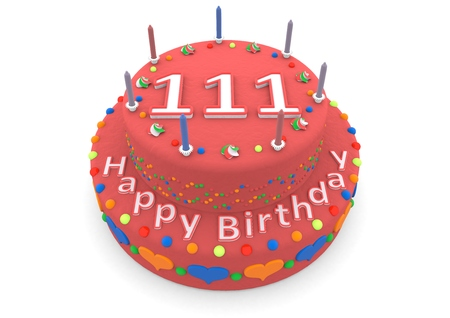 seniority: a red birthday cake with the age and happy birthday