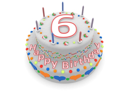 sixth: a white birthday cake with the age and happy birthday