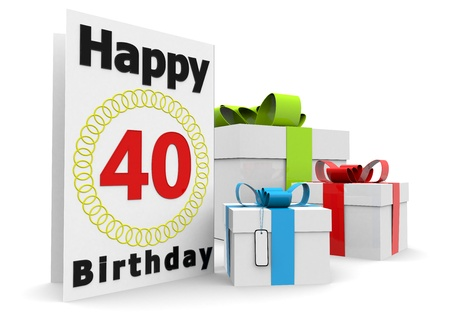 seniority: a birthday card with the age, happy birthday and presents