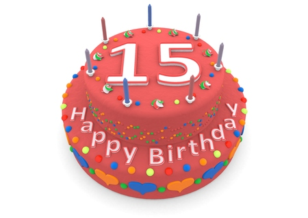 fifteen year old: a red birthday cake with the age and happy birthday