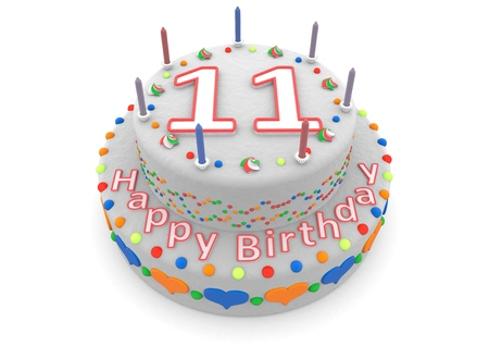 eleventh birthday: a white birthday cake with the age and happy birthday