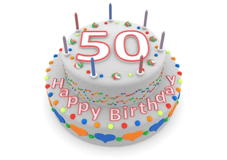 the fiftieth: a white birthday cake with the age and happy birthday