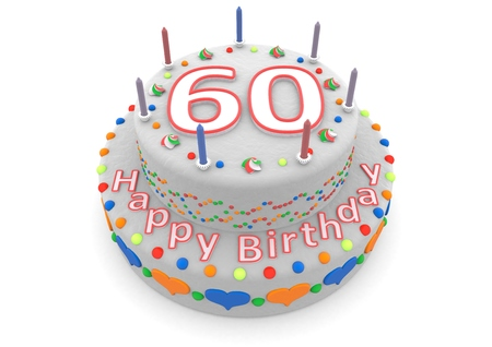 sixtieth: a white birthday cake with the age and happy birthday