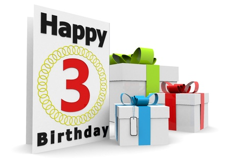 third age: a birthday card with the age, happy birthday and presents