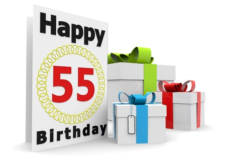 55 years old: a birthday card with the age, happy birthday and presents
