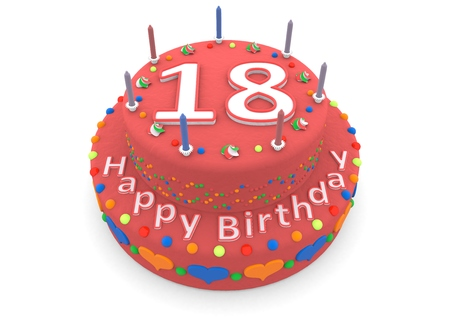 happy birthday 18: a red birthday cake with the age and happy birthday