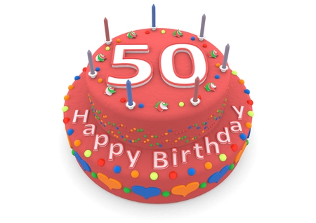 the fiftieth: a red birthday cake with the age and happy birthday