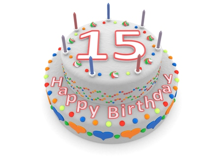 seniority: a white birthday cake with the age and happy birthday