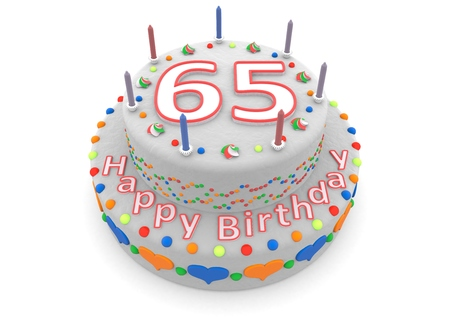 65 years old: a white birthday cake with the age and happy birthday