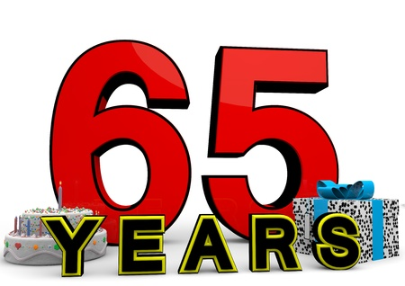 65 years old: large red number with present and cake