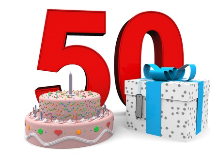 the fiftieth: large red number with present and cake