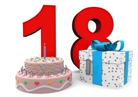 happy birthday 18: large red number with present and cake