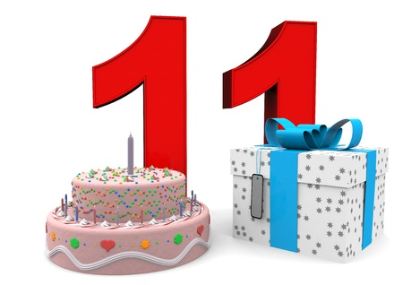 eleventh birthday: large red number with present and cake