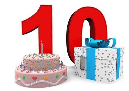 tenth birthday: large red number with present and cake