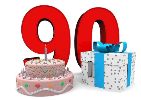 nineties: large red number with present and cake