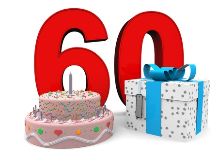 sixtieth: large red number with present and cake