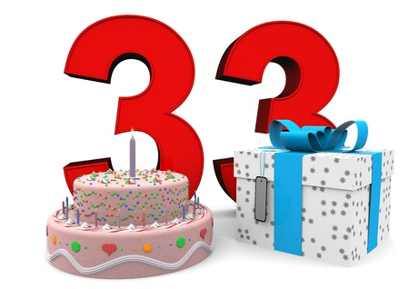 felicitate: large red number with present and cake