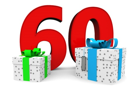 sixtieth: a large number with two presents Stock Photo