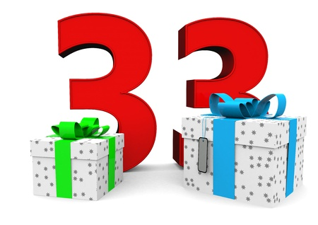 felicitate: a large number with two presents Stock Photo