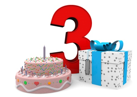 The Big Red Number 3 With Happy Birthday In Colorful Letters Stock