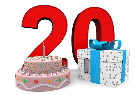 seniority: large red number with present and cake